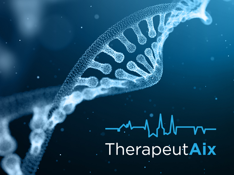 DNA strand with TherapeutAix logo